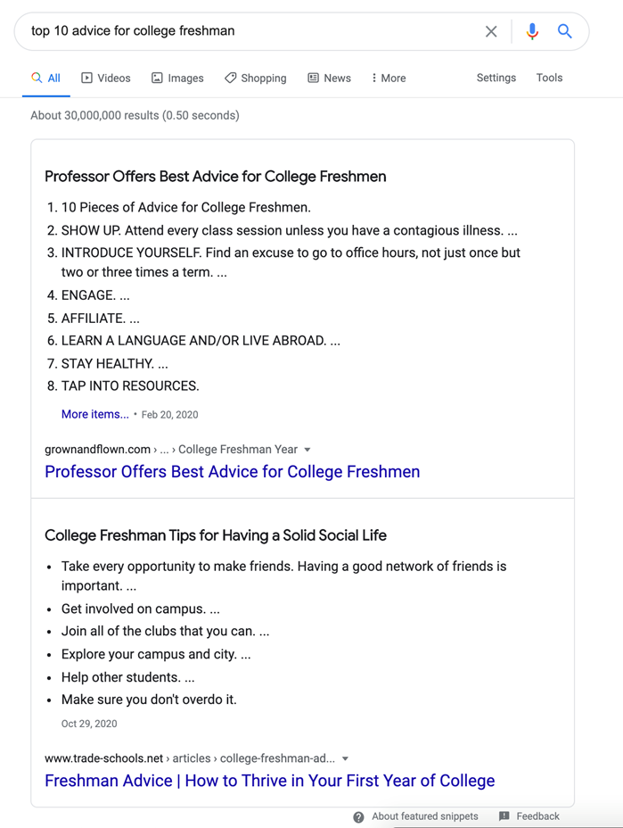 "Google SERP  Results for Query ""Top 10 Advice for College Freshman"""